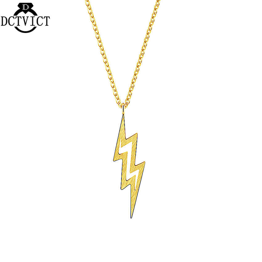 ed392ad38ae0e Vintage Gold Lightning Bolt Chunky Necklace Pendant Punk Collier Femme  Fashion Jewelry Silver Geometric Women Chains Necklaces