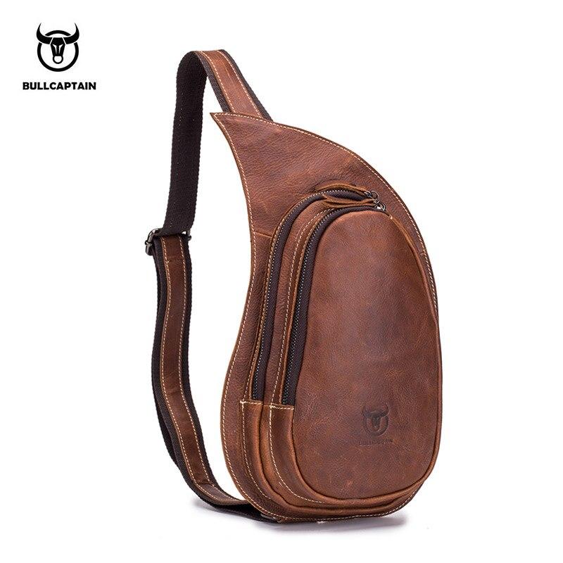 8d8146c13197 Модные мужские сумки через плечо Crazy Horse кожаные сумки на груди  однотонные дизайнерские сумки на молнии