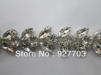 (CM361) 1 Yard Glass Rhinestone Crystal Chain Applique Costume Trim Wedding Supply