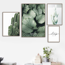 цена Green Monstera Leaf Cactus Quotes Wall Art Canvas Painting Posters And Prints Nordic Poster Wall Pictures For Living Room Decor