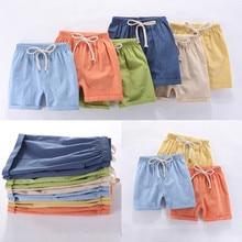 Детские штаны для мальчиков от 2 до 10 лет шорты длиной до колена конфетного цвета для девочек, детские летние пляжные свободные шорты, штаны хлопковые и льняные штаны