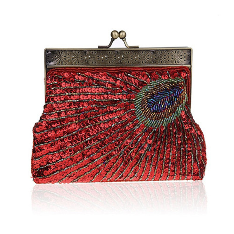 Peacock Clutch Evening-Bag Sequined Amazing-Design Beading Handmade Vintage Women Luxury