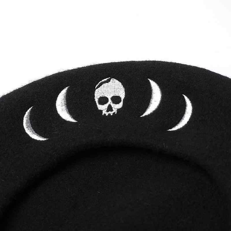COKK sonbahar kış şapka kadın % 100% yün bere İskelet nakış bere kadın Punk gotik düz şapka Boina Feminina Gorras Vintage