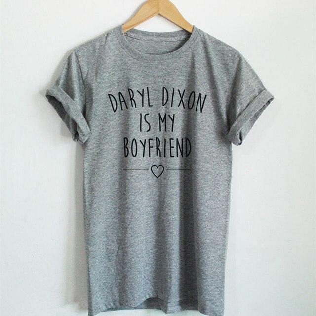 8c401370b Daryl Dixon Is My Boyfriend T-shirt Women's Fashion The The Walking Dead  Tops Tee Shirts Tumblr Clothing Girl Tshirt Euro Size