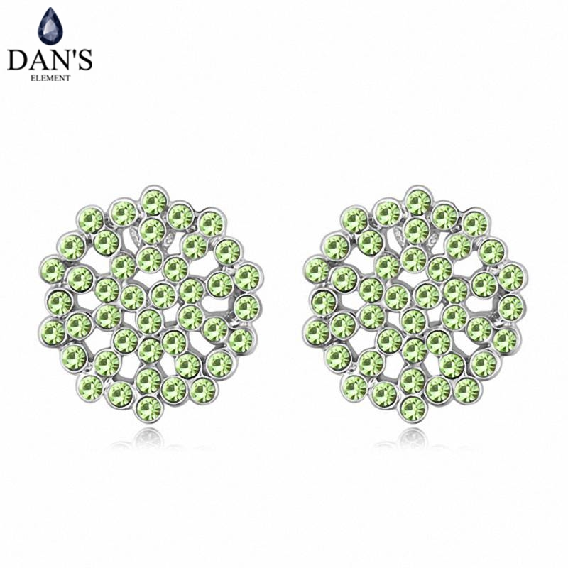DANS 5 Colors Real Austrian crystals Stud earrings for women Earrings s New Sale Hot Round 120564