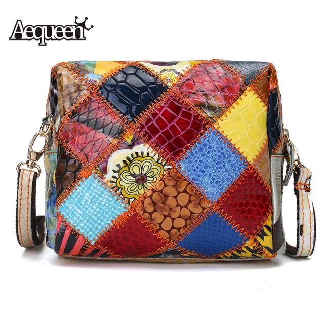AEQUEEN Brand Design Shoulder Bag Women Colorful Trunk Bag Patchwork Messenger Bags Originals Leather Ladies Clutch Random Color