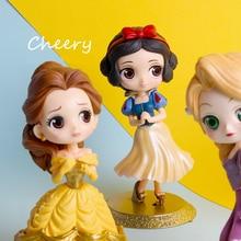 Disney Q Posketตุ๊กตาเจ้าหญิงAriel Alice Wonder Woman Harley Quinn Elsa Annaรูปตุ๊กตาตุ๊กตาของเล่นตุ๊กตาเค้กTopperตกแต่งเค้กparty