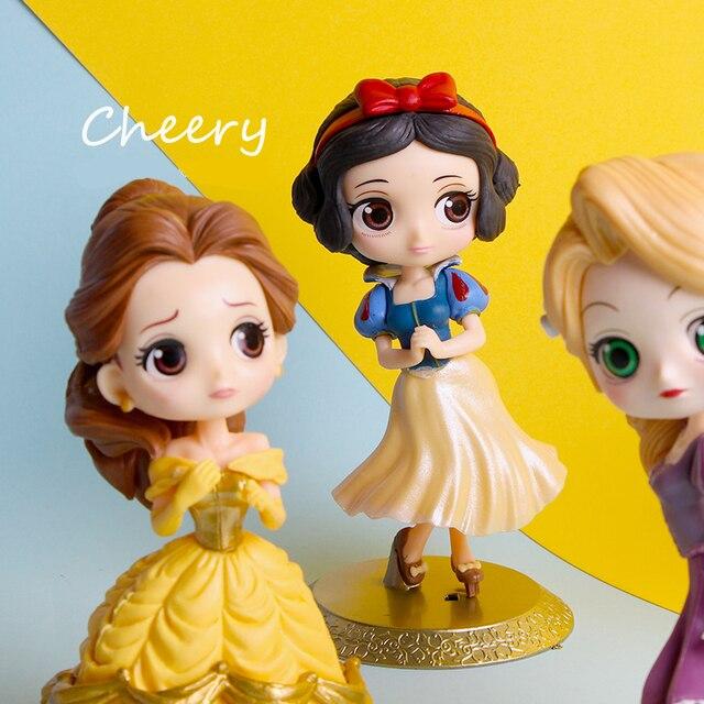 Disney Q posket Bambola Della Principessa Ariel Alice Wonder Woman Harley Quinn Elsa Anna Figure toy dolls Cake Topper decorazione Della Torta partito