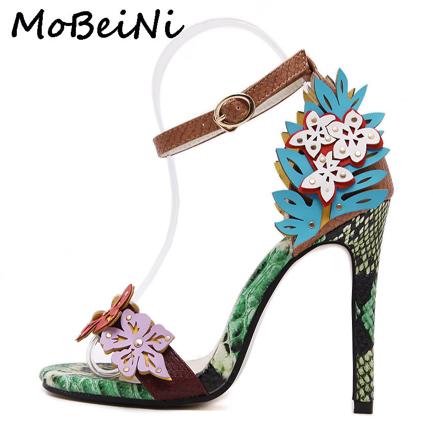MoBeiNi Women Pumps High Heels Sandals Appliques snake texture Ankle Strap Shoes party Woman 2017 New Summer Gladiator Sandals mobeini new fashion colored pompon straps with high heels sandals casual roman women s sandals summer woman gladiator sandals
