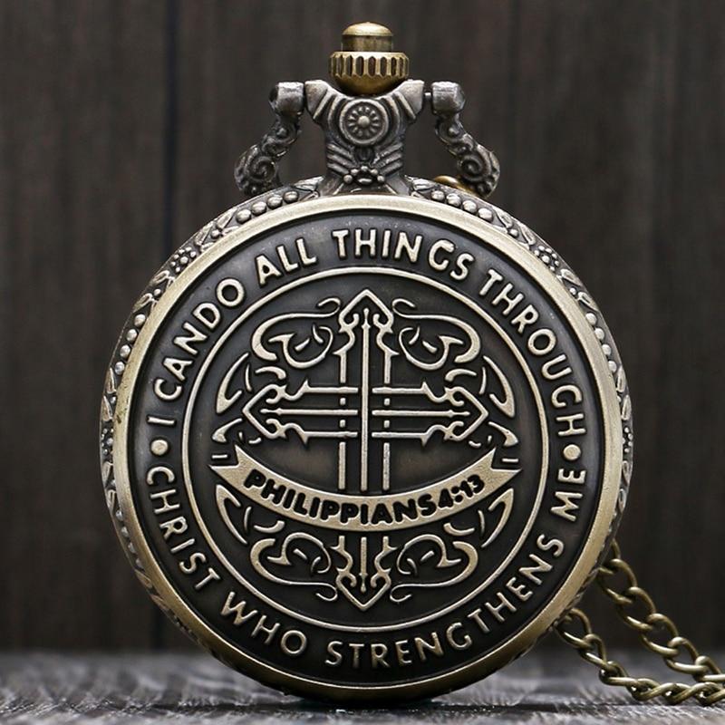 Stil vintage Biblia Filipeni 4:13 Iisus Hristos creștin bronz cuarț ceas de buzunar Femei Bărbați cadou colier de modă
