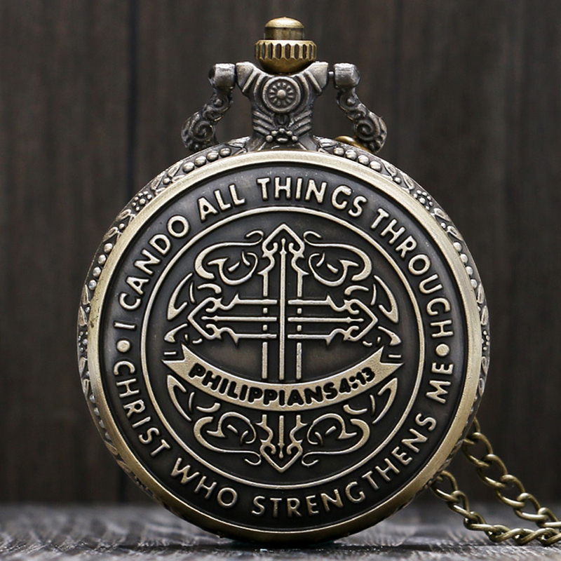 Estilo Vintage Biblia Filipenses 4:13 Jesucristo Reloj de bolsillo de cuarzo de bronce cristiano Mujeres Hombres Regalo Collar de moda