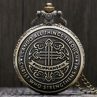 Vintage style bible philippians 4 13 jesus christ christian bronze quartz pocket watch women men gift.jpg 200x200