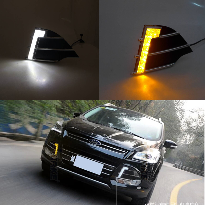 купить 2pcs white and yellow LED DRL Daytime Running Light with turning lamps fog driving light for Ford Escape 2013-2014 недорого