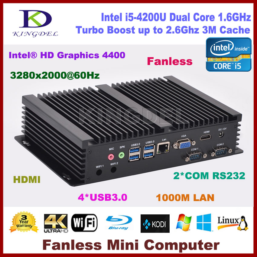 Core i5 4200U micro PC mini computer with 8G RAM+256G SSD,HDMI 2 COM rs232,USB 3.0,WiFi,Windows 10 ddr4 ram 7th gen kaby lake i7 7500u mini pc windows 10 fanless computer 4k hdmi dp htpc 300m wifi dhl free