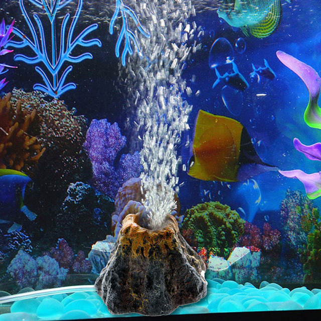 Aquarium Ornament Resin Ornament Oxygen Pump Air PumpAir Bubble Stone Fish Tank Simulation Volcano Shape Decoration Toy