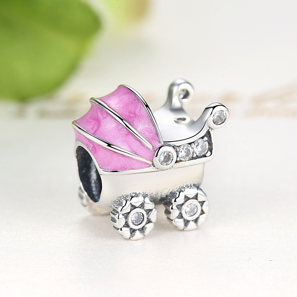 Original 925 Sterling Silver Baby Carriage Crystal Beads Fit Pandora Charm Bracelet For Women Children DIY Jewelry Accessories