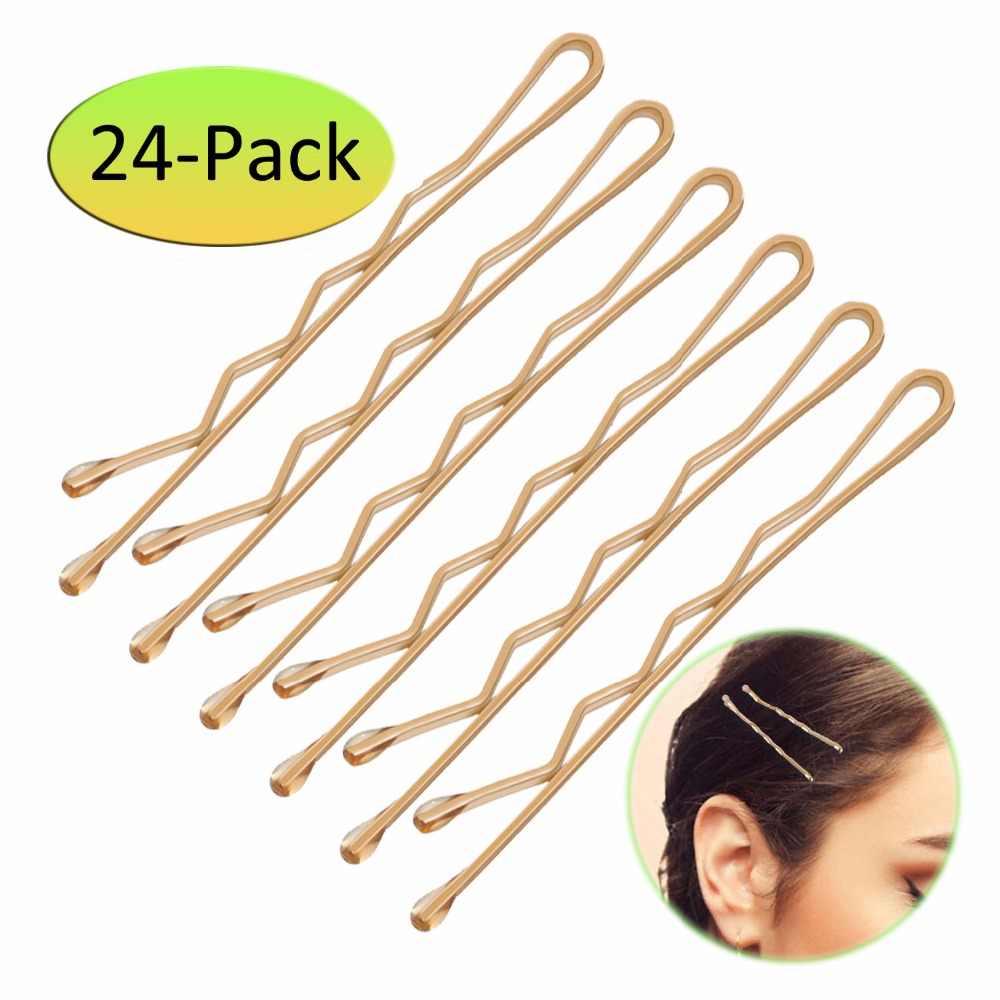 24 шт. 5 см заколка для волос для укладки волос серебристые золотые заколки для волос для женщин заколки для девочек аксессуары заколки для волос Металлические волнистые заколки