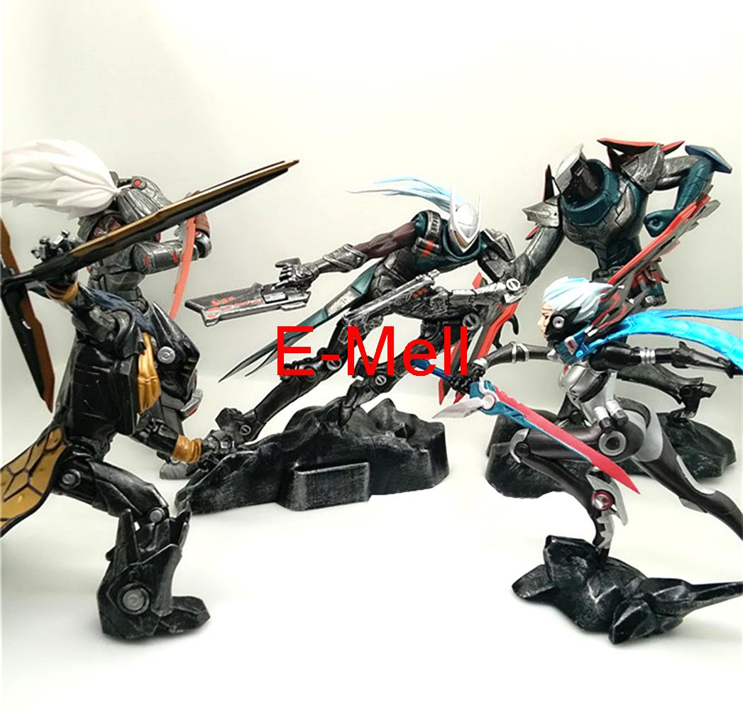 Cosplay LOL Yasso Fiona Lucian Zed Yi 22cm/8.7'' PVC GK Model Action Figures Toys Garage Kits dolls made for lol cosplay the loose cannon jinx 24cm 9 5 middle pvc gk action figures toys garage kits standing model