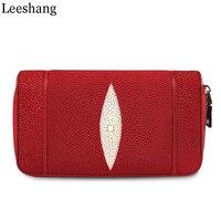 Leeshang Genuine Stingray Skin Double Zip Ladies Large Capacity Business Clutch Wallet Purse Genuine Leather Female Long Wallet