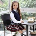 British school girl uniform School vest Knitted sweater with a skirt for girl Blue Nursery school uniform Scottish