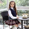 Uniforme da menina da escola britânica colete camisola De Malha com uma saia para menina Da Escola uniforme escolar Azul Berçário Escocês