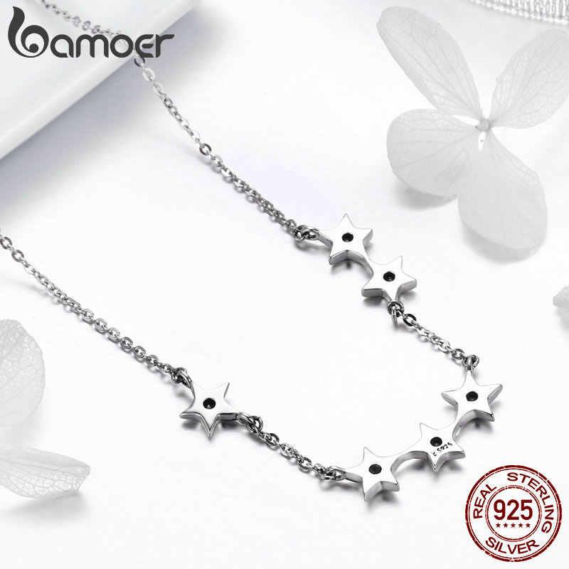 BAMOER authentique 925 argent Sterling éblouissant CZ empilable étoile pendentif colliers pour les femmes en argent Sterling bijoux cadeau SCN273