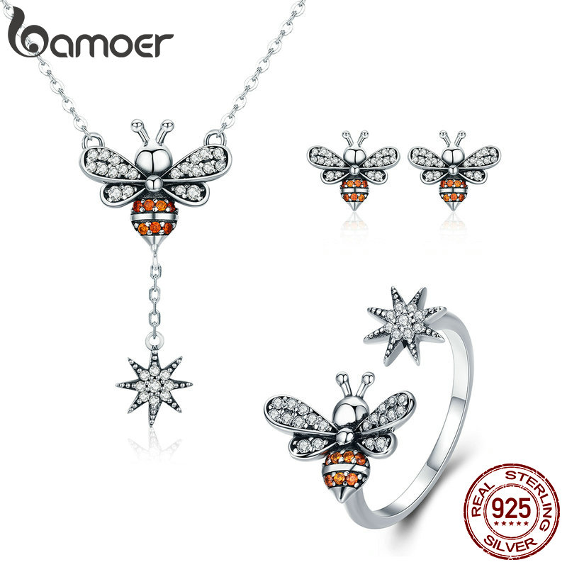 BAMOER Genuine 100% 925 Sterling Silver Luminous CZ Insect Collection Bee Women Jewelry Set Sterling Silver Jewelry Gift ZHS056