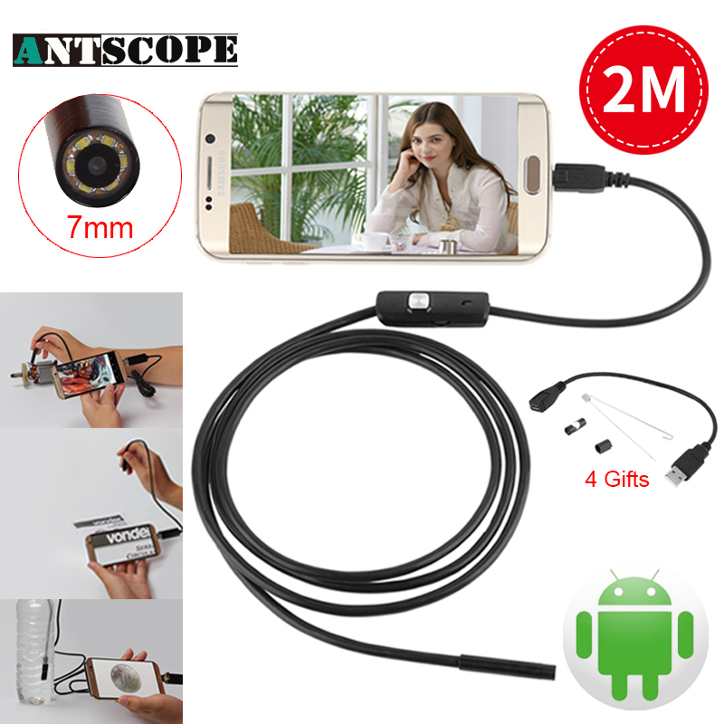 Antscope 7mm 2M USB Endoscope Android 6 LED Phone Endoscope Android Borescope Endoscopio Mini Cable Inspection Snake Camera 7mm lens mini usb android endoscope camera waterproof snake tube 2m inspection micro usb borescope android phone endoskop camera