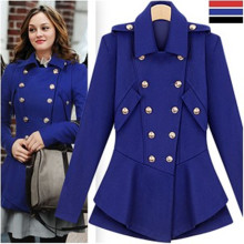 Trending Women Celebrity Style Double Breated Jacket, Cute Peplum Fashion Design Woolen Jacket
