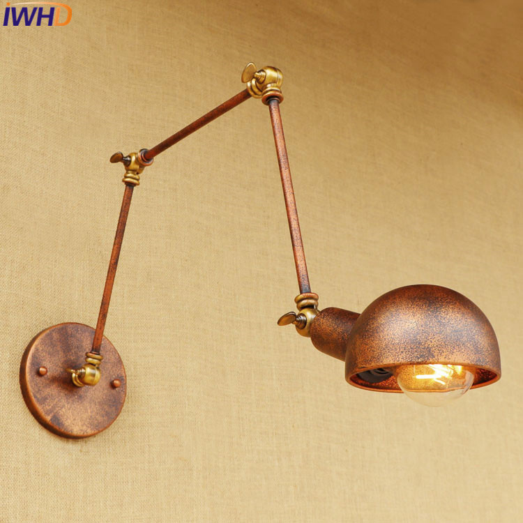 Retro Loft Style Industrial Long Arm Wall Lamp Iron Vintage Wall Lights For Home Bedside Edison Wall Sconce Indoor Lighting 2016 vintage e27 wall lamp loft indoor outdoor lighting bedside screw thread style black metal lamps lights for home corridor