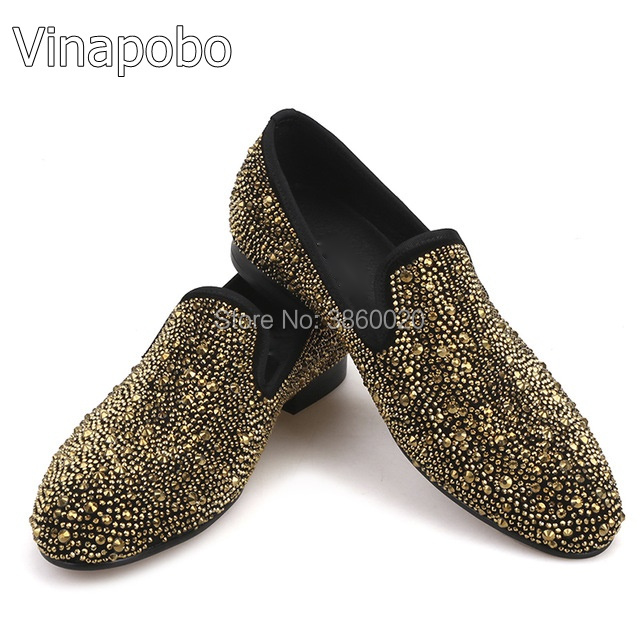 9fa5f3e8f8b02f Newest Hot Sales Gold Crystals Studs Gold Chilli Suede Slip On Loafers Low  Top Mens Shoes Casual Flats Size 38-46 Wedding Shoes