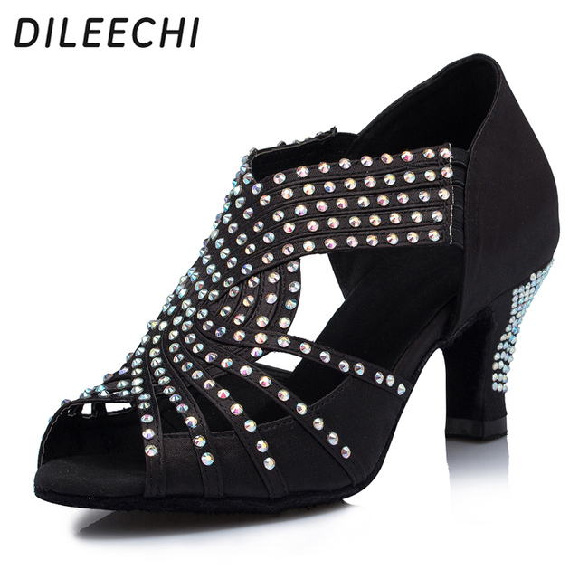 Dileechi Baile Negro Satén Salsa Zapatos Latino Mujer Diamante Boda rr6qX