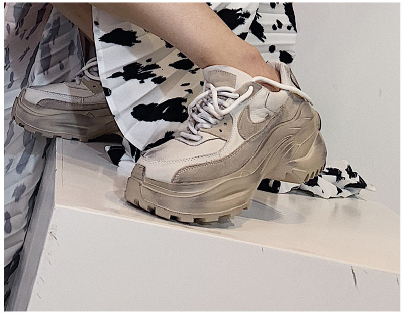 2019 Spring Autumn Shoes Women Platform Shoes Lady Lace Up Casual Pumps Creepers Harajuku Punk Sneakers Girl Female Silver Shoes (9)