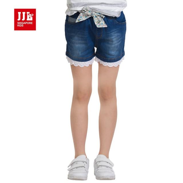 Девушки джинсы короткие девушки короткие девушки джинсы кружева хем цветочные талии группа моды дети брюки до колен дети шорты девушки одежда
