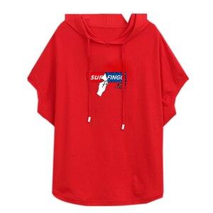 Image 5 - Camiseta holgada informal de verano con capucha para mujer, ropa de algodón de manga corta en rojo y blanco, con estampado, talla grande, 2020