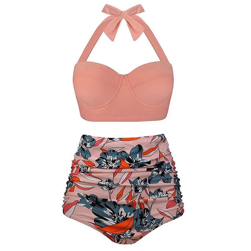 HTB1 f2JbozrK1RjSspmq6AOdFXaG High Waist Swimsuit 2019 Black White Striped Bikinis Women Bandage Top Push Up Swimwear Female Bathing Suits Beach Wear Biquini