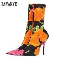 JAWAKYE Bloemen paars satijn fluwelen Vrouwen Sok Laarzen Puntschoen Mid Kuit Laarzen vrouwen Hoge Hakken Vrouwen Laarzen Stiletto schoenen