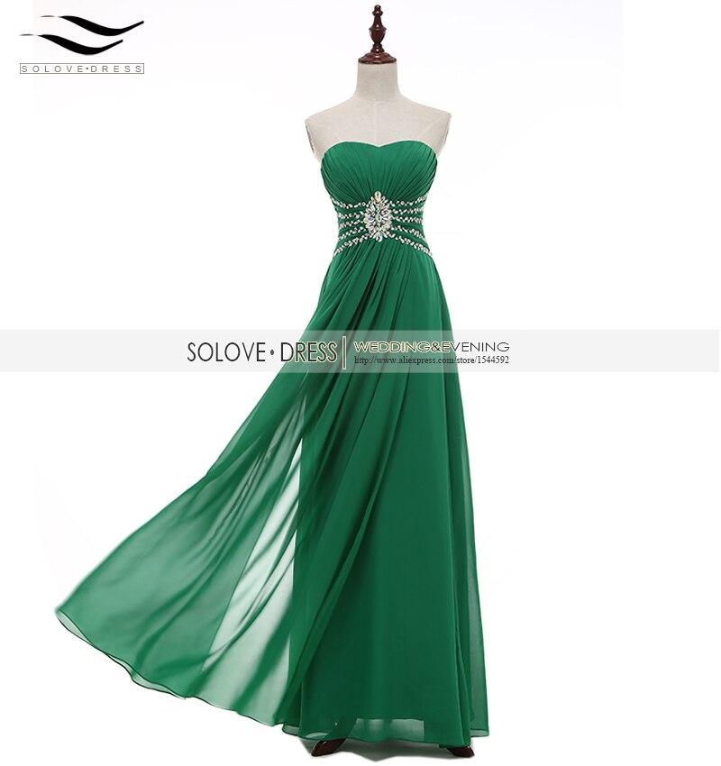 Solovedress Elegant Line Sparking Real Photos Beaded Chiffon Green Evening Dress 2017 Gown Vestidos De fiesta SLP008 - SOLOVEDRESS Wedding&Evening Store store