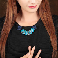Yuan Shuo Original Creation Personality Ethnic Style Handmade Weave Brooch Sweater Coat Blue Stone Pin Corsage