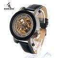 Bobo bird luxo marca men mecânica relógio relógio de madeira preta genuína pulseira de couro relogio masculino-k11 caixas de relógio de madeira