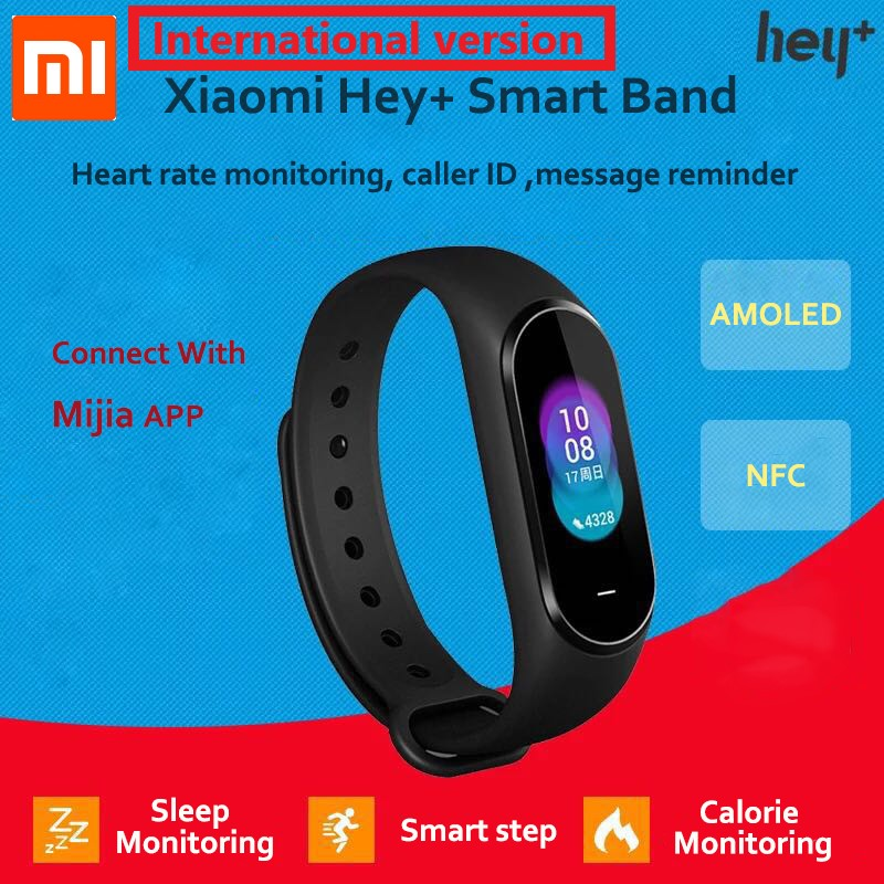 In Stock Xiaomi Hey Plus Smartband 0.95 Inch AMOLED Color Screen Builtin Multifunction NFC Heart Rate Monitor Hey+ Band-in Smart Wristbands from Consumer Electronics