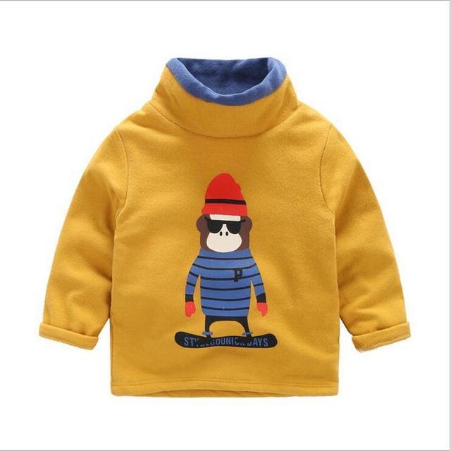 Meninos meninas Casacos de Inverno Mais Quente de veludo longo-sleeved T shirt Crianças 2017 Novos Dos Desenhos Animados Roupas Crianças Jaqueta de Gola Alta Tops F422