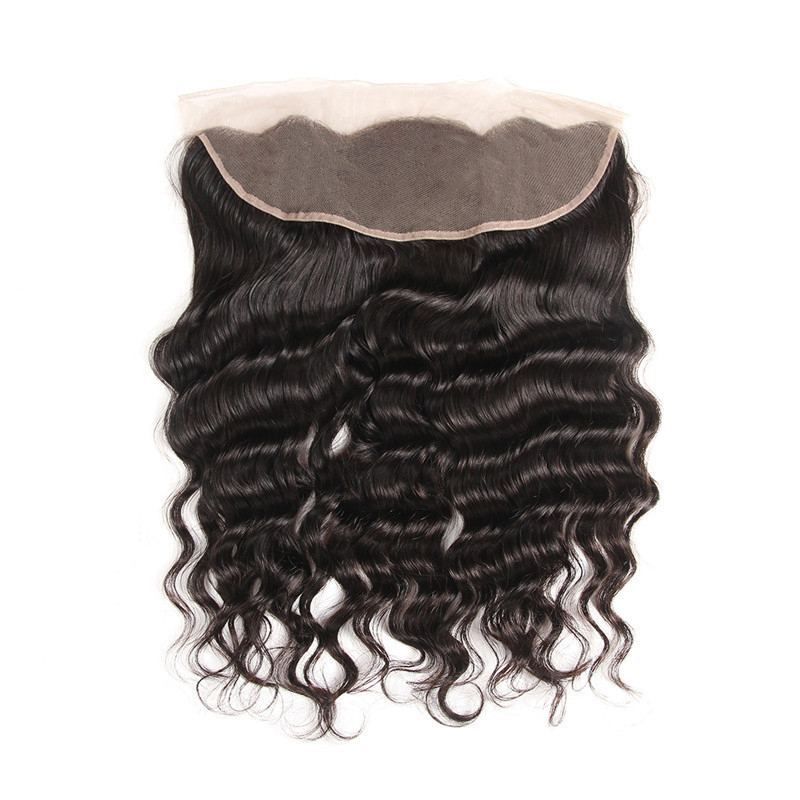Megalook Loose Deep Lace Frontal Brazilian 100% Remy Human Hair Frontal PrePlucked with Baby Hair 10 22 inch-in Closures from Hair Extensions & Wigs    3
