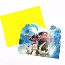 6PCS/SET MOANA INVITATIONS CARDS KIDS BIRTHDAY PARTY FAVORS MOANA INVITATION CARDS HAPPY BIRTHDAY PARTY SUPPLIES сплит система shivaki ssh l 079 be