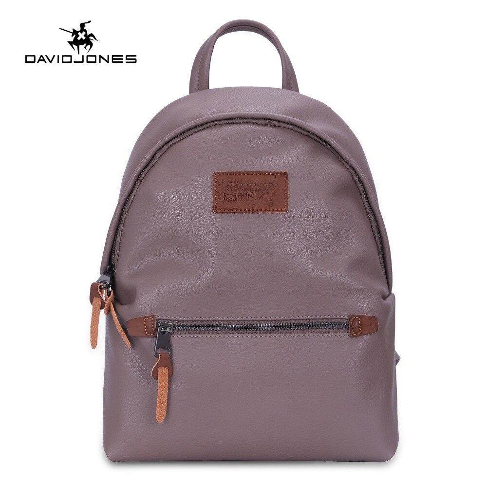 DAVIDJONES women shoulder bags pu leather female backpacks big lady solid school bag girl brand teenager