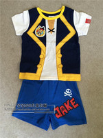 Darmowa wysyłka Jake i piraci neverland Jake Cosplay costume set T shirt i krótkie spodnie dla dziewcząt/chłopców/kids party/boże narodzenie