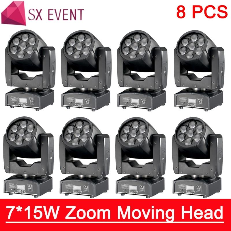 Led Mini Moving Head Light 7x15W RGBW Professional Stage Lights 4-60 degree Zoom DJ DMX Disco Beam Wash Effect 8pcs/lot