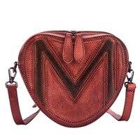 New Women's bag ladies heart shape trend Handmade handbag casual wind leather shoulder bag fashion color Messenger bag