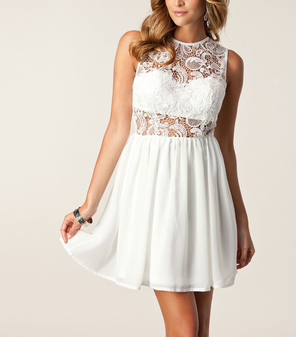 Nextshe Floral Crochet Lace Pattern Hollowed Back Sleeveless Pleated ...