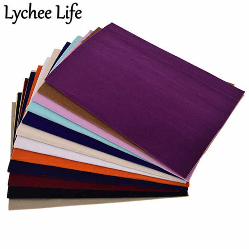 Lychee Life A4 Adhesive Velvet Fabric 29x21cm Colorful Flocking DIY Handmade Sewing Clothes Accessories Supplies